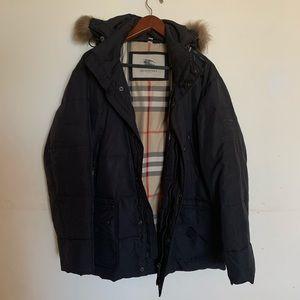 Burberry London black checked coat fur trim hood